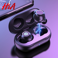 Wireless Bluetooth Earphones 5.0 with Mic Fingerprint Touch Wireless Headphones HD Stereo Noise Cancelling Music Earbuds Headset