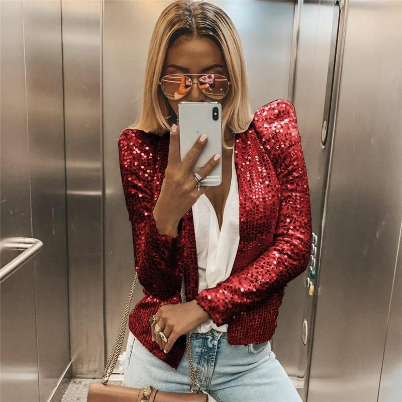 Women Autumn Long Sleeved Sequins Blazers Casual Single Breasted Blazer Solid Shiny Party Blazer Coat