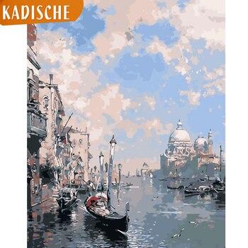 Pintura kadisch por números, paisaje DIY, pintura al óleo por números, ciudad al agua, pintura en lienzo, imágenes artísticas, decoración del hogar
