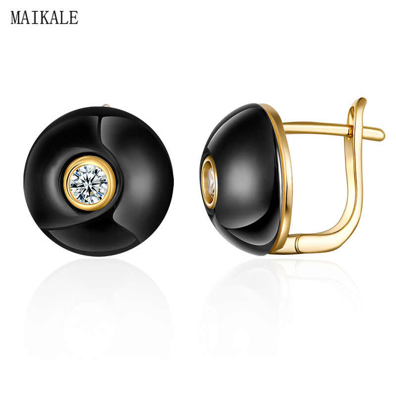 MAIKALE Simple Round Earrings Black White Ceramic Earrings Cubic Zirconia Golden/Silver Stud Earrings for Women Accessories Gift