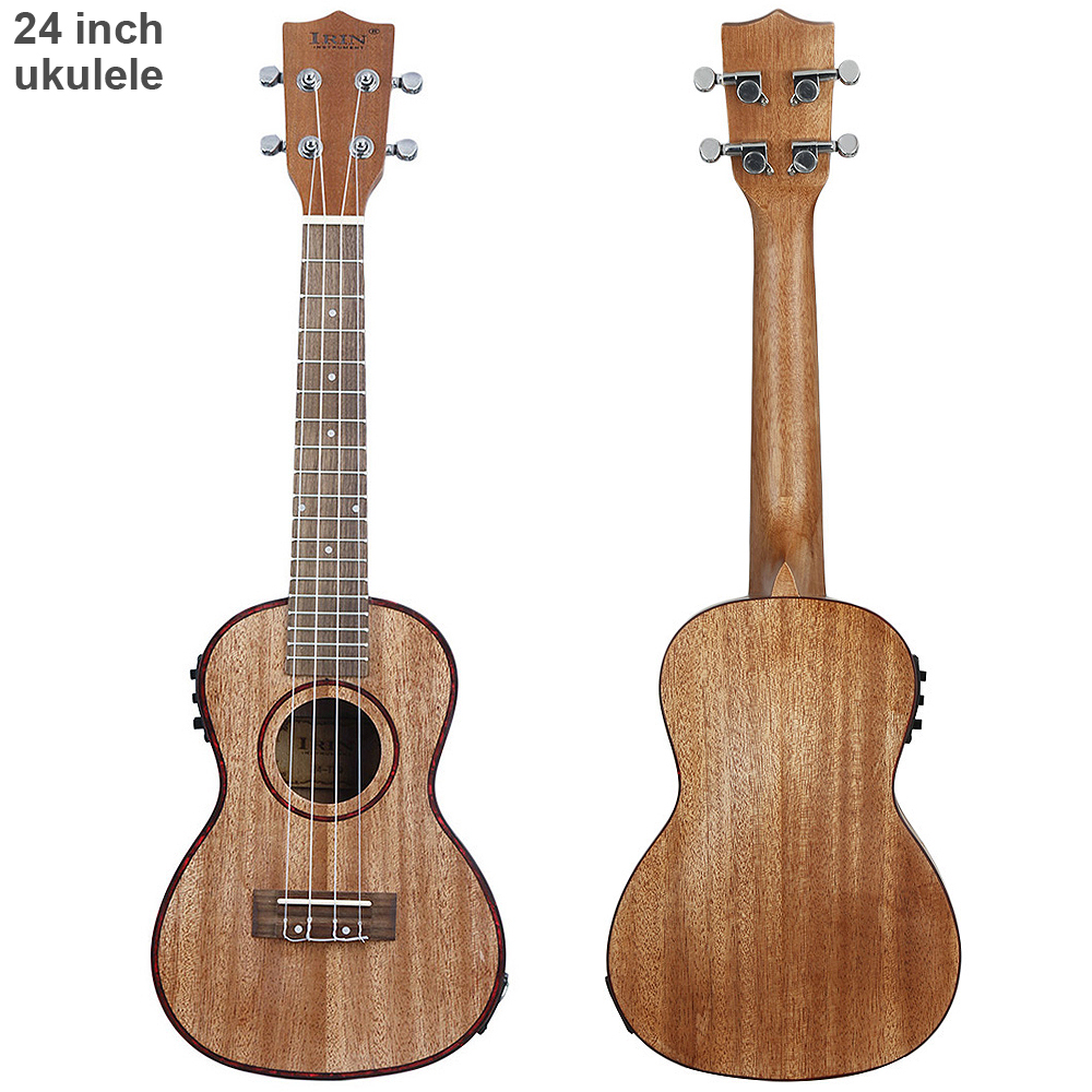 Ukelele electro acústico profesional de 24 pulgadas, concha de abulón borde 18 traste cuatro cuerdas de guitarra hawaiana con pastilla EQ integrada