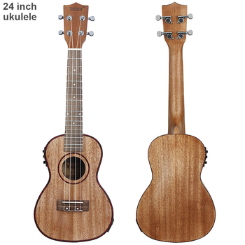 24 Inch Professional Electroacoustic Ukulele Abalone Shell Edge 18 Fret Four Strings Hawaii Guitar with Built-in EQ Pickup