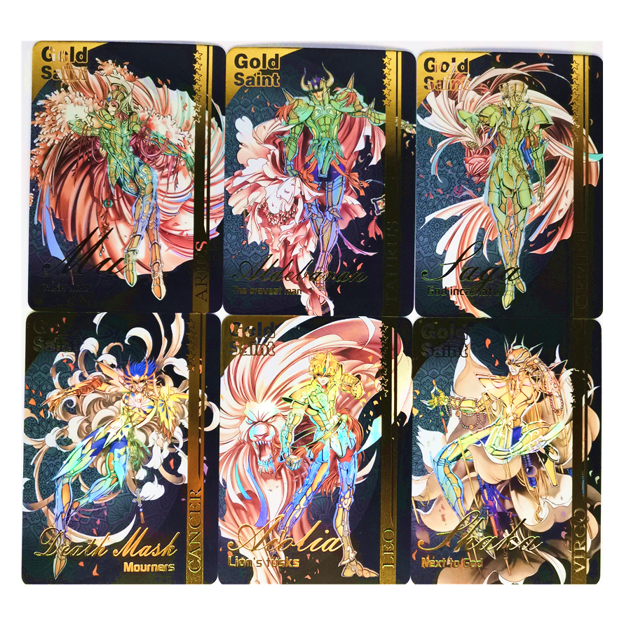 13pcs/setSaint Seiya Holy Color Second Game Gold Of Glory Bronzing Toys Hobbies Hobby Collectibles Game Collection Anime Cards