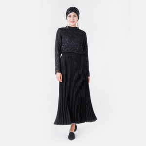 Image 3 - אלגנטי מוסלמי חולצות וחולצות נשים ארוך שרוול תחרה השפל חולצות משרד גבירותיי אביב חלול החוצה האסלאמי דובאי