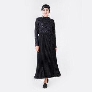 Image 3 - Zarif müslüman bluz ve gömlek kadınlar uzun kollu dantel dip üstleri ofis bayanlar bahar Hollow Out Dubai İslami giyim