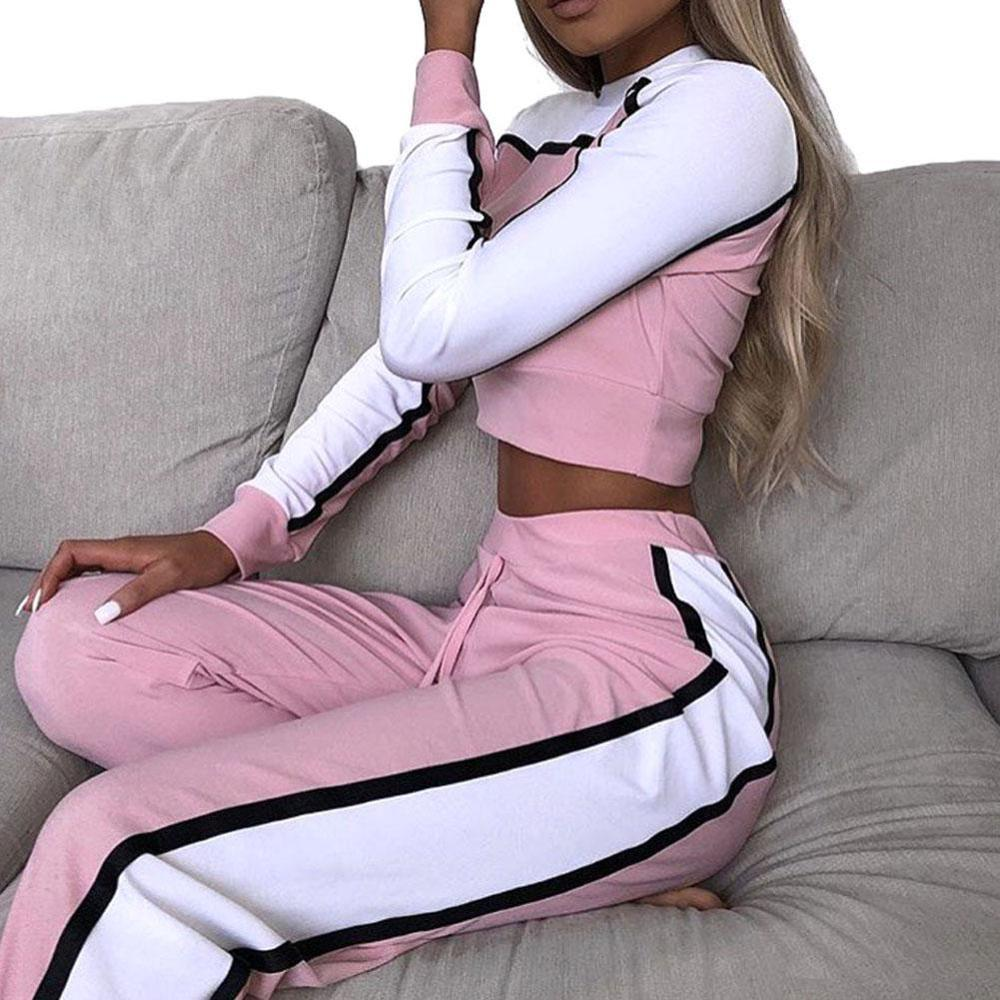 2020 Women Striped Patchwork Tracksuit Set Casual Crop Top +Pants 2 Piece Set For Women Spring Two Pieces Sets Tracksuit Suit