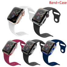 watch band + case for apple watch strap iwatch 4 band 44mm 40mm 42mm 38mm silicone Protective case for apple watch series 4 3 2 42mm 38mm for apple watch s3 series 3