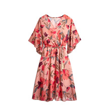 цена на Floral Print Dress Women Summer Autumn Chiffon Dress Vestidos Fashion V Neck Ruffle Sleeve Midi Dress Slim Party Dresses Lining