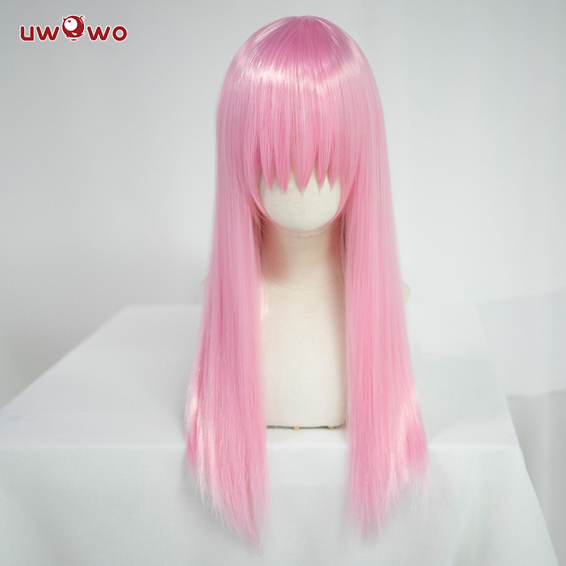 Uwowo 3 Colors Universal Cosplay Wig 60CM Pink Brown Black Silvery Grey Long Wig Straight Heat Resistant Synthetic Hair