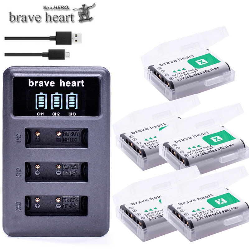 5x Bateria NP-BX1 NPBX1 Np Bx1 Battery For Sony DSC-RX100 DSC-WX500 HX300 WX300 HDR AS100v AS200V AS15 AS30V AS300 M3 M2 HX60