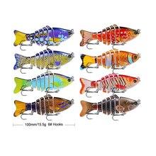 New 1pc Fishing Lure 10cm 3D Eyes 7-Segment Lifelike Hard Crankbait With 2 Hook Baits Pesca Cebo