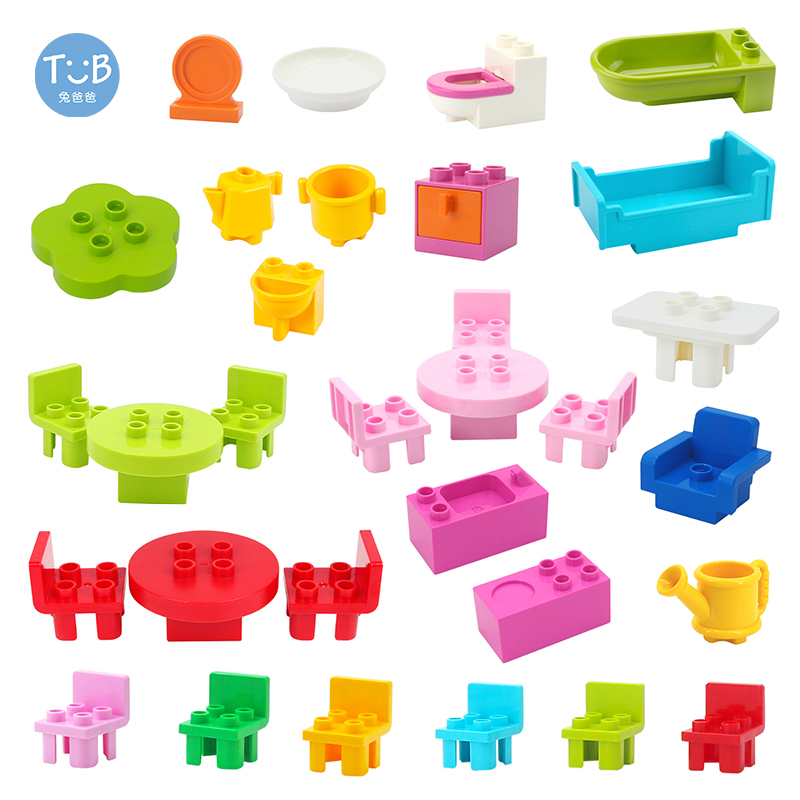 Большие строительные блоки мебель ванная комната кухонные аксессуары диван стол стул шкаф совместим с Duploes кирпичная игрушка для подарка