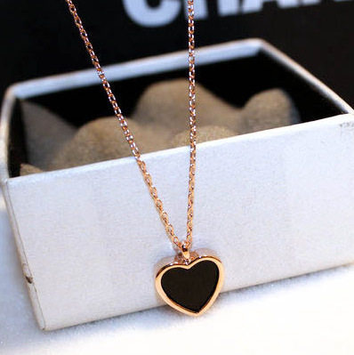 Cute Love Heart Rose Gold Silver Color Pendant Long Chain Statement Necklace for Women Fashion Jewelry