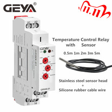 GEYA Din Rail Type Heating Cooling Temerature Control Relay with Sensor AC/DC24V 240V 16A Electronic Relays with Sensor