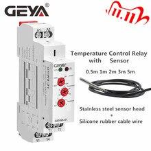 GEYA relé de Control de temperatura de refrigeración de Tipo de carril Din, con Sensor AC/DC24V 240V 16A, relés electrónicos con Sensor