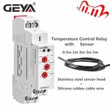 Geya tipo trilho din aquecimento temerature relé de controle com sensor ac/DC24V 240V 16a relés eletrônicos com sensor