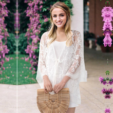 New Women Lace Cardigan Casual Loose Long Sleeve Kimono Sunscreen Blouse Beach Tops
