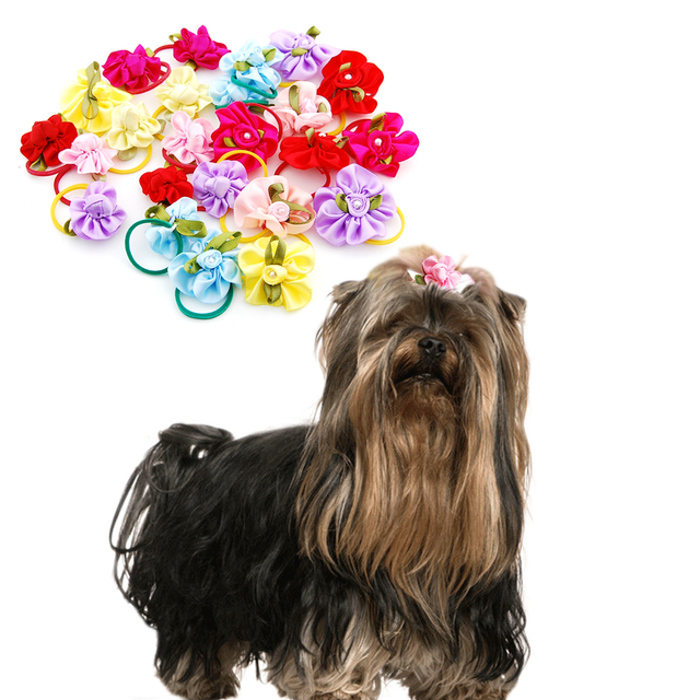 (24 pieces/lot) Pet Puppy Small Dog Hair Flower Bows Pet Hair Accessories Dog Bowknot Elastic Band Decoration Poodle 1