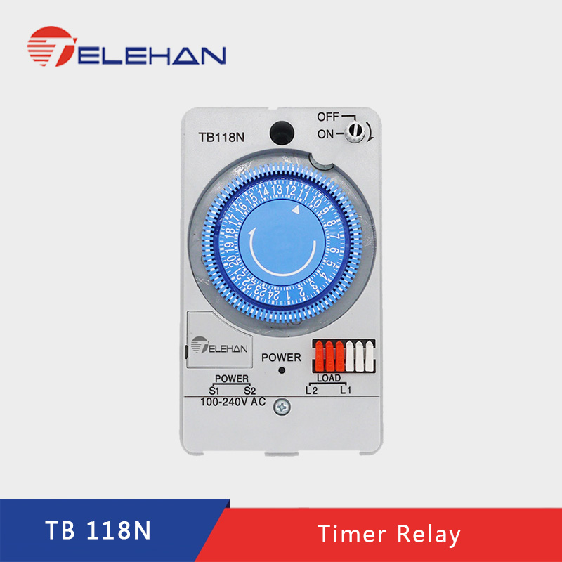 TELEHAN 24h Timer Relay, TB-118 24 hours  Built-in rechargeable battery, 220V timer switch, mechanical