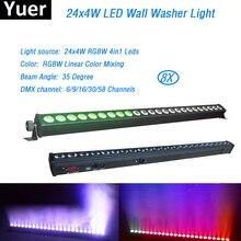 משלוח חינם 8 יח\חבילה 24x4W באיכות גבוהה Led מכונת כביסת קיר אור RGBW Led בר אור DMX מקורה LED מבול למטה תאורת DJ דיסקו