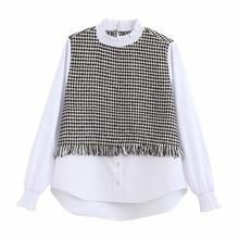 2020 women vintage tweed woolen patchwork blouse retro women chic pleated stand
