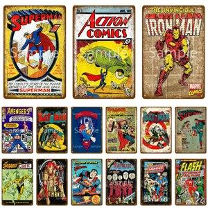 Vintage Marvel Comics Superman Metal Sign Retro Bat Man Iron Man Tin Plate Signs Painting Poster Baby Living Room Decor YK016
