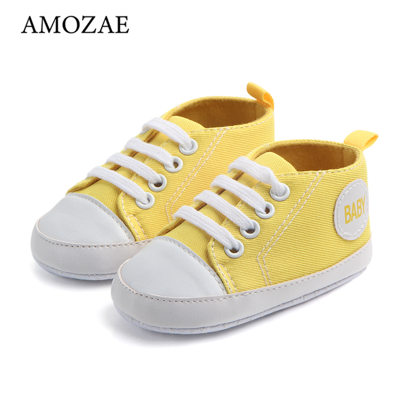 10 cores do bebê meninos meninas sapatos para recém nascidos impressão em tela do bebê primeiro walker anti deslizamento infantil solas macias calçados prewalker|Primeiros caminhantes|   -