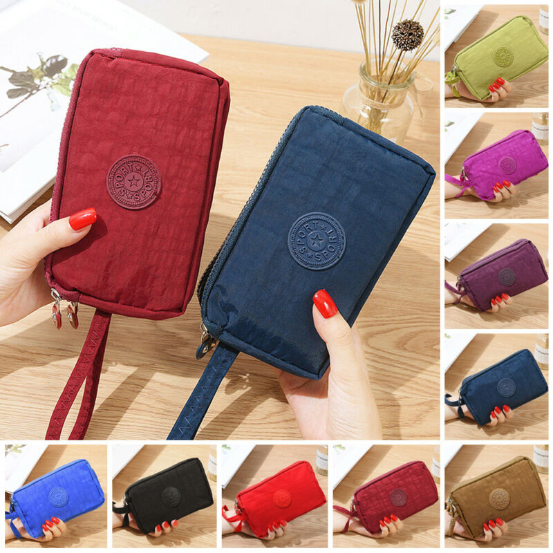 Women Solid 3 Layer Canvas Coin Purse Card Zipper Wallet Holder Phone Bag Gift Card ID Holders Wallets
