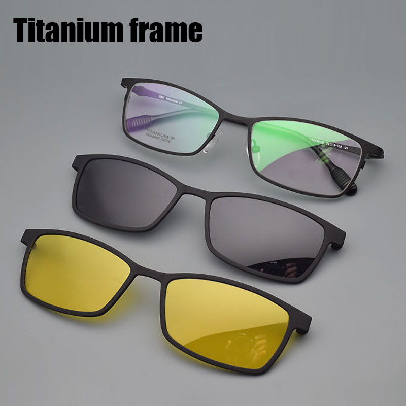 Half Frame Titanium Frame Glass Frame With Polarized Light Frosted Myopia Glasses Men Sunglasses Night-vision Clip Pure Titaniu