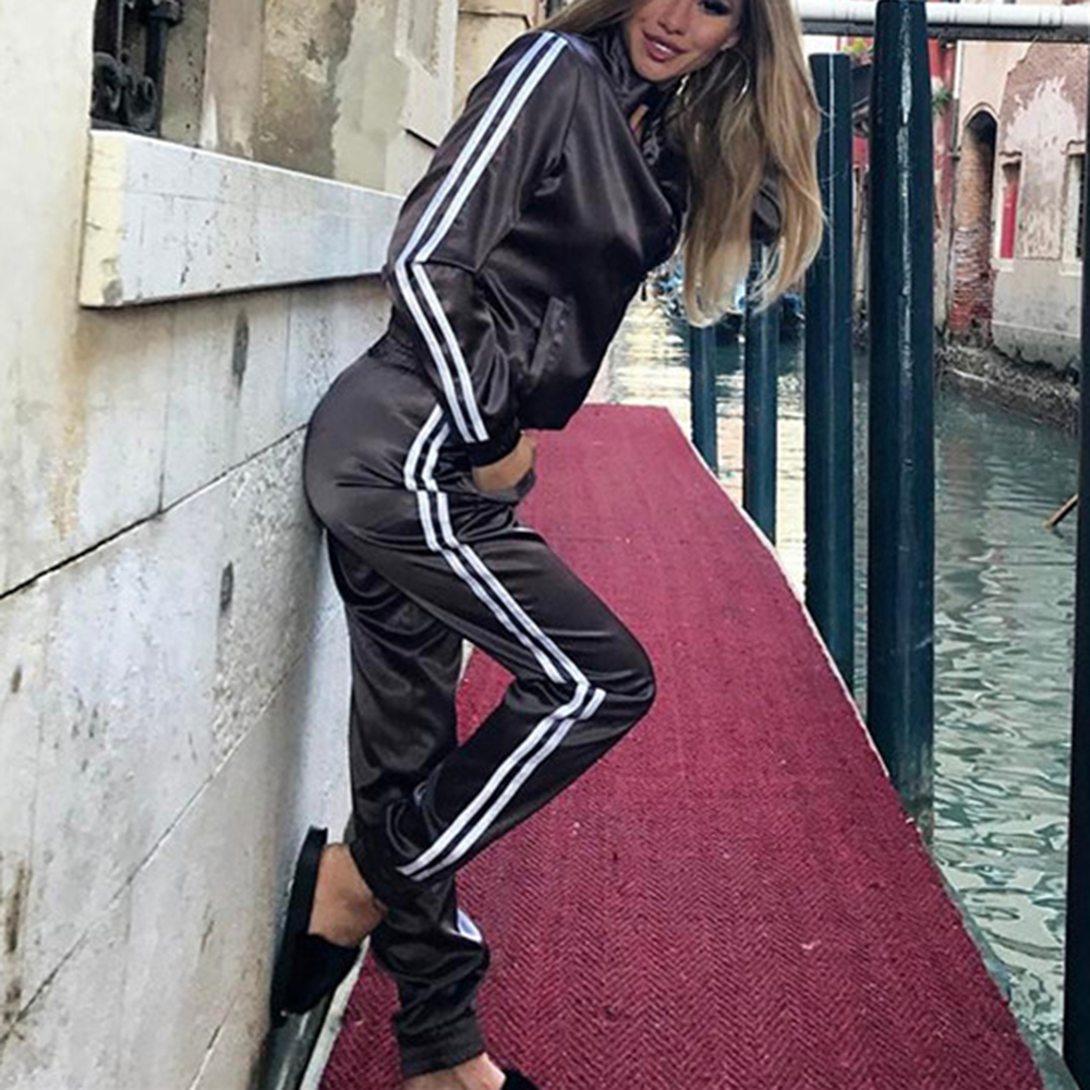 Striped Sports 2 Piece Set Autumn Causal Top and Pants 2020 Women Tracksuit Satin Patchwork Zipper Sexy Sweatshirt Sweat Suit