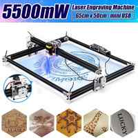 Mini Machine à graver au Laser, 12V 5500mW 65*55 cm, bleu, Machine à graver au Laser, 2 axes, graveur à domicile, routeur de bureau en bois, coupeur/imprimante