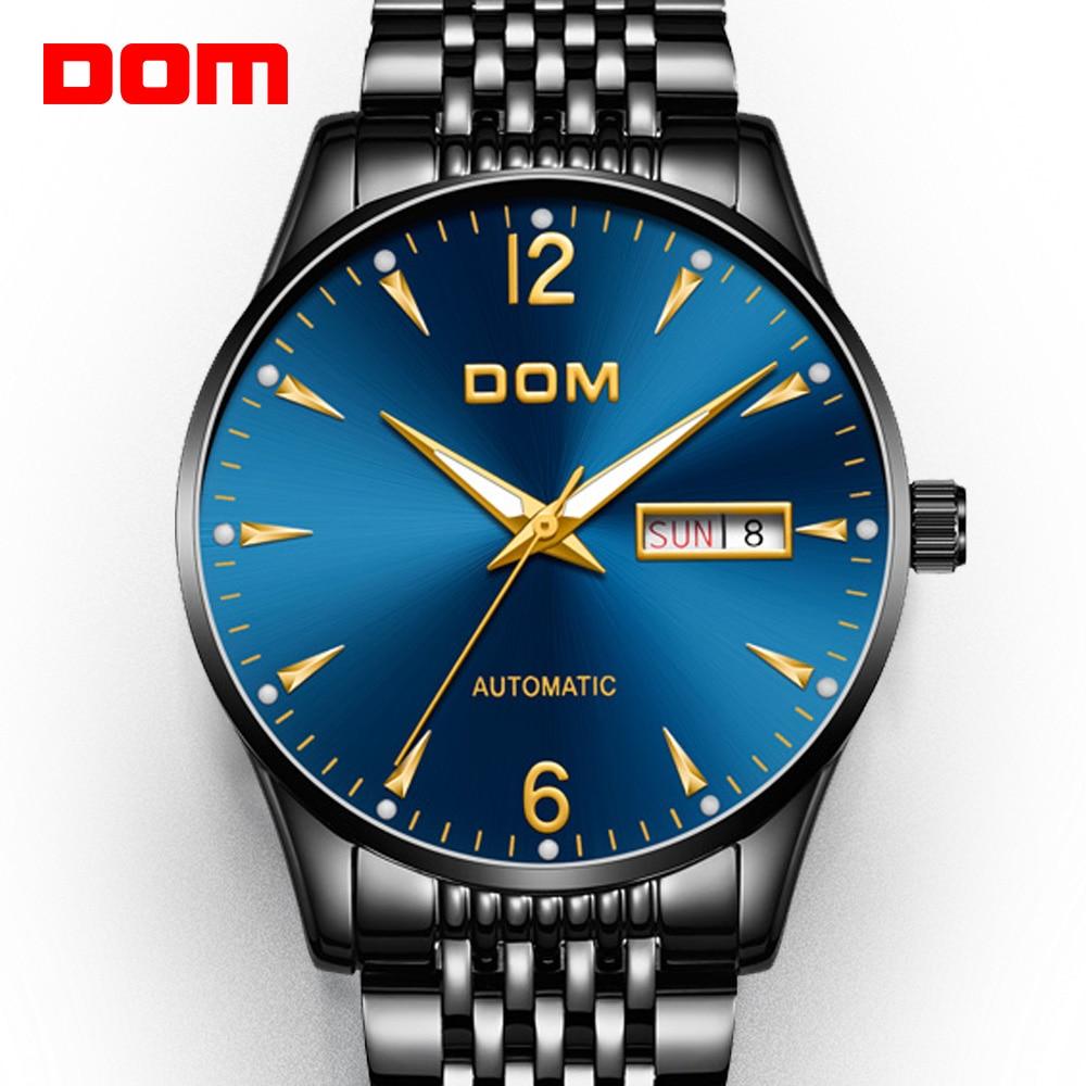Mechanical Watch DOM Automatic Mens Watch Top Brand Luxury Steel belt Casual Leather Waterproof Watch Men M-89BK-2M2