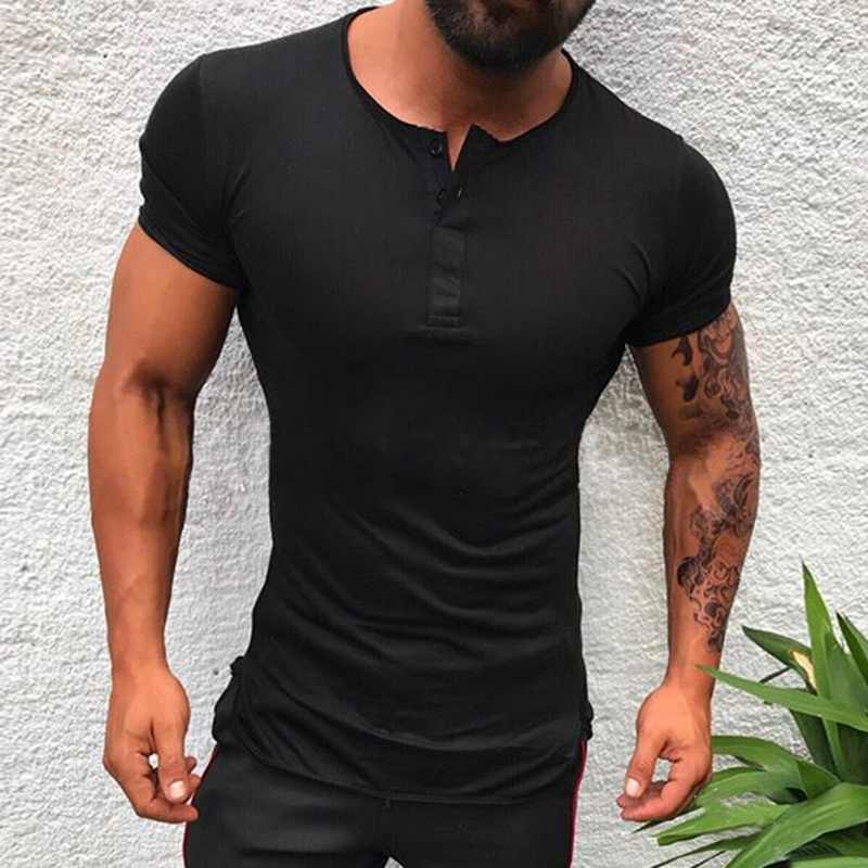 Men V Neck Short Sleeve Muscle Tee Shirts Slim Fit Gym Casual Solid T-shirt Tops
