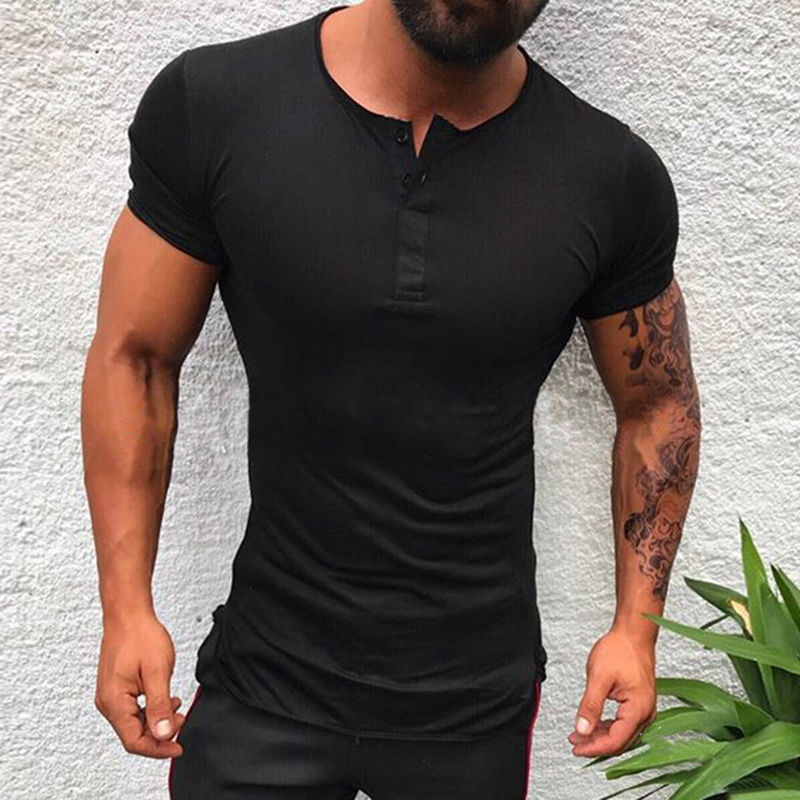 Stylish Solid Color Tee Tops Men T Shirt Short Sleeve Bodybuilding Tees Male Clothes Fitness Fashion Round Neck Casual T-shirts
