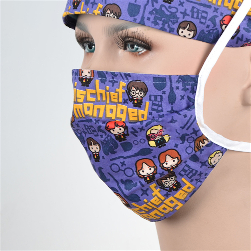 Girl Nurse Scrub Cap Surgical Work Caps Hospital OR Doctor Skull Hat 100% Cotton With Sweatband Tieback Chef Cooking Hats