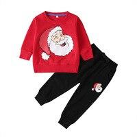 Christmas Toddler Boys Clothe Cartoon Sweatshirt for Kids Girls 2 Piece Set Sweatshirt +long Pants Long Children Clothes Suits