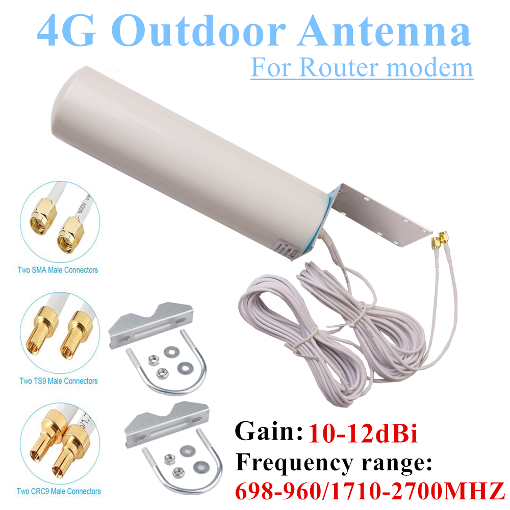 WiFi Antenna CRC9 4G LTE Outdoor Antenna SMA Omni Antenne 3G TS9 With 5 Meters Dual Connector Cable For Huawei ZTE Router Modem