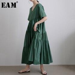 Женское длинное платье EAM, зеленое плиссированное платье с длинным рукавом и треугольным вырезом, 2019