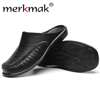 Merkmak Men Shoes Summer Casual Slippers British Wind Half Drag PU Men Shoes Breathable Slip on Lazy Loafers Men Plus Size 2020 summer cool rhinestones slippers for male gold black loafers half slippers anti slip men casual shoes flats slippers wolf