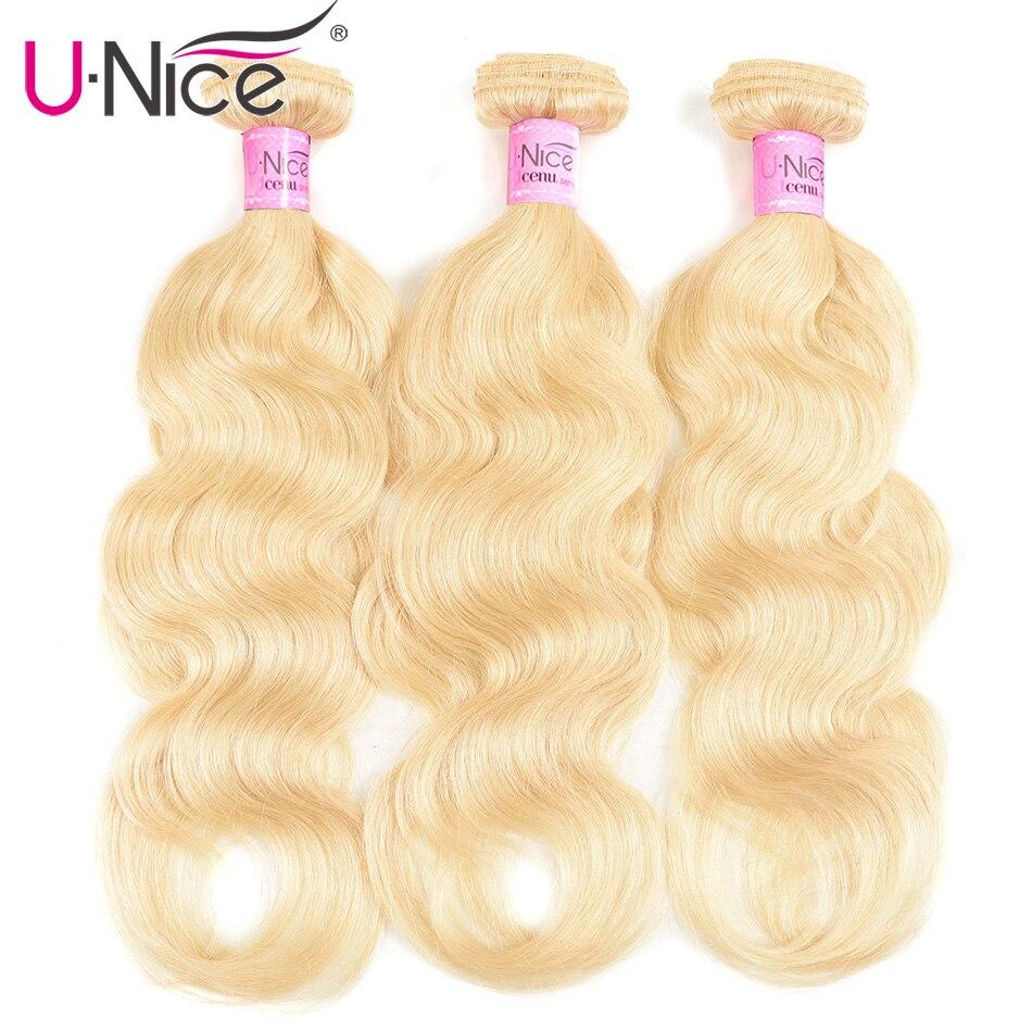 Unice extensiones de cabello humano Remy malasio 1/3/4 Uds 613 cuerpo de color onda trama de pelo 16-24 pulgadas extensiones de cabello envío gratis