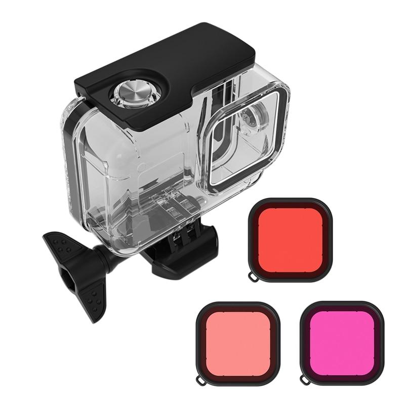 Para gopro hero 8 esportes câmera de mergulho caso proteção filtros para gopro8 preto câmera de mergulho filmadora proteção|Câmera olho de peixe| |  - title=