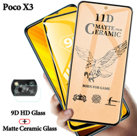 Game-compatible protector de pantalla Poco X3 cerámica mate cristal templado para Poco X3, Poko X3, protector Poco X 3, Xiaomi pocohone X3, pantalla Poco X3 NFC, Frosted Screen Protecor, antihuellas dactilares Poco X3