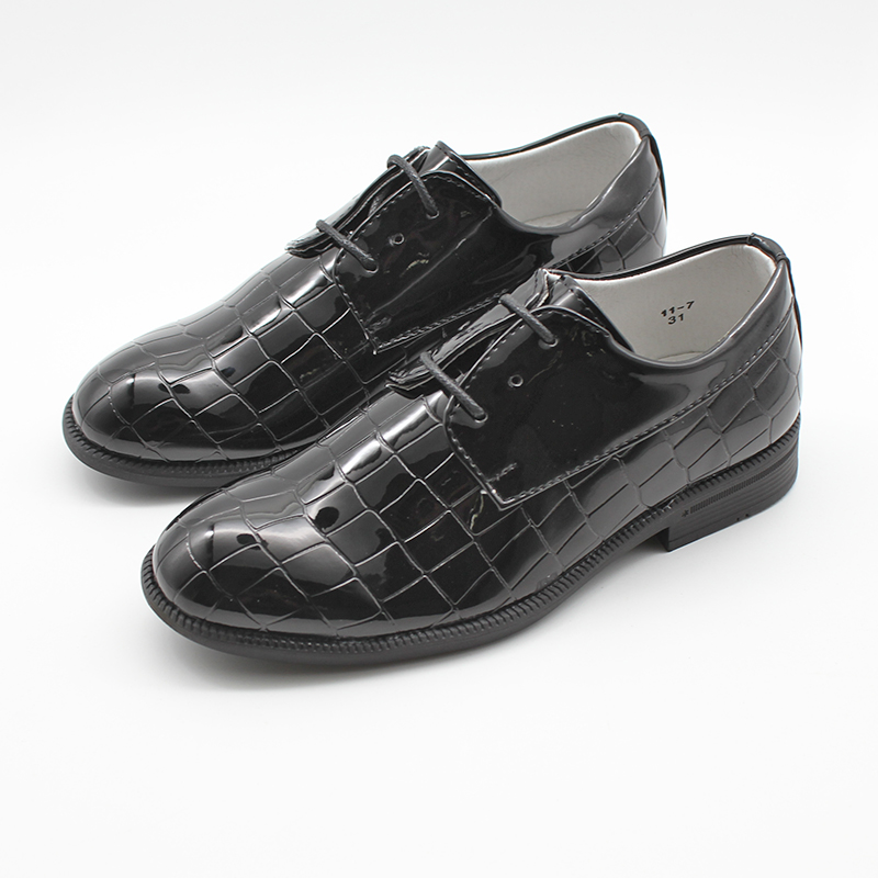 Boys Dress Shoes Toddler Youth Kids Lace Up Closed Toe Derby Black Stone Pattern Formal Shoes