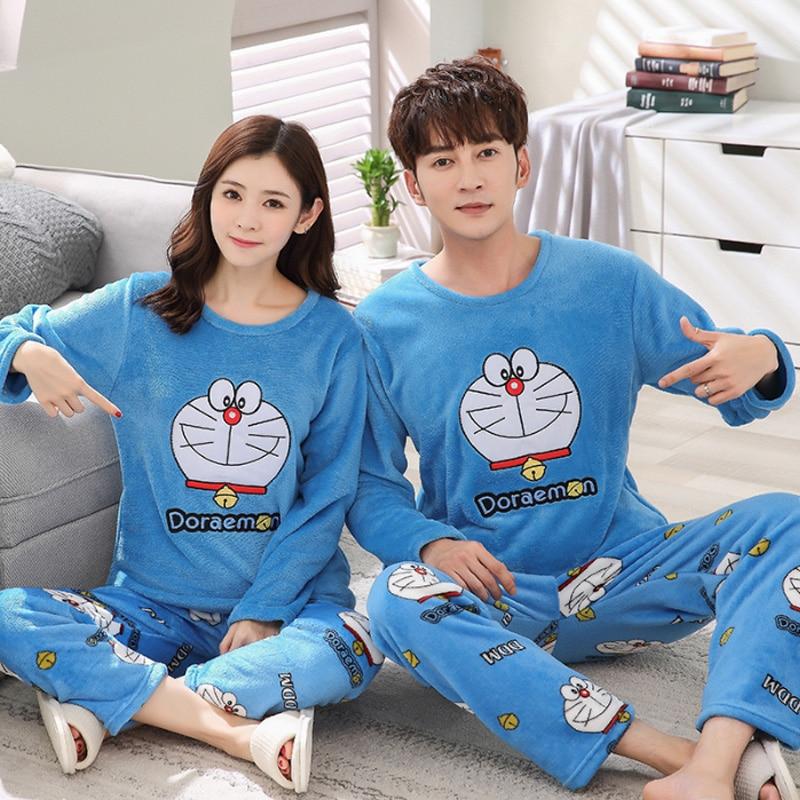Couple Pyjamas Women Mens Flannel Warm Autumn Winter Pijamas Women Sleepwear Coral fleece Femme lovers   Pajama     Set   Sexy Nightwear