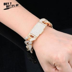 Image 2 - JINAO NEW 20mm Miami Lock Clasp Cuban Link 7 9 Inch  Bracelet Iced Out AAA Cubic Zircon Bling Hip hop Men Jewelry Gift