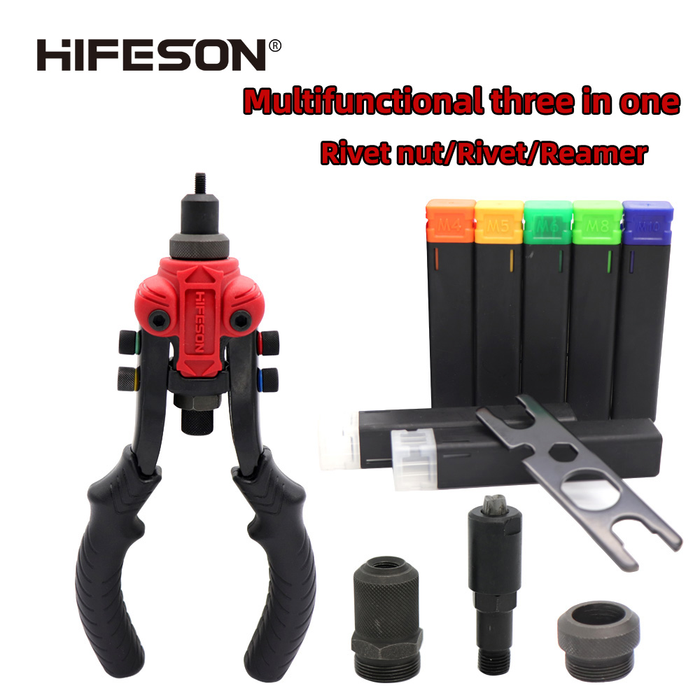 Multifunctional Triple Manual Rivet Nut/rivet/reamer Gun Inserted Into The Threaded Mandrel For Manual Riveting Rivet Nut Tool