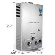 Calentador instantáneo de agua sin tanque, caldera de propano de 6L, Gas GLP