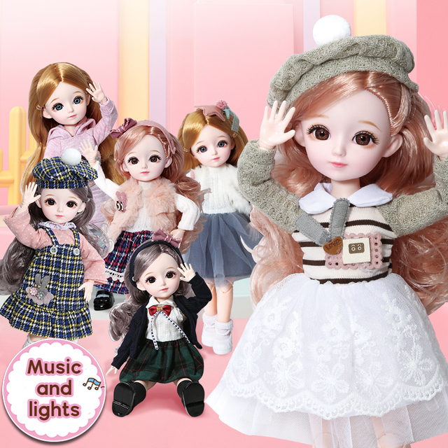 New 1/6 12 Inch 31cm Bjd Doll 23 Joints Long Wig Plastic Toys Musical Doll Girls Children's Favorite Fashion Birthday Presents 3