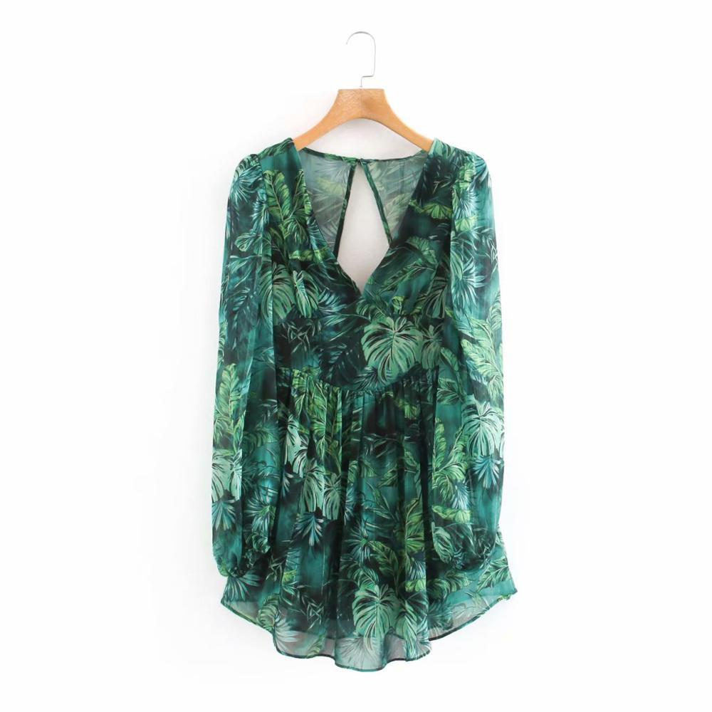 Женское шифоновое мини-платье с принтом Тропических Зеленых Листьев, шикарное повседневное облегающее платье с открытой спиной, 2020