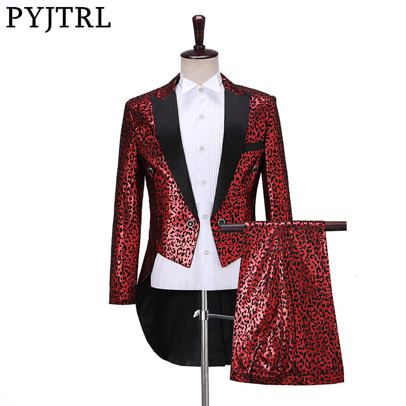 PYJTRL Mens Fashion Gold Red Leopard Print Two-piece Set Swallowtail Suit Wedding Groom Stage Singer Party Prom Dress Tuxedos